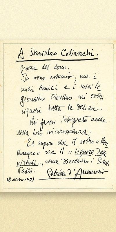 biglietto scritto a mano da Gabriele d'Annunzio a Stanislao Bianchi per ringraziarlo della bottiglia di amaro ricevuta.